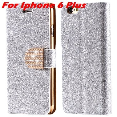 For Iphone 6 Case Gold Luxury Bling Diamond Leather Case For Iphon 32258181305-10-Sliver For I6 Plus