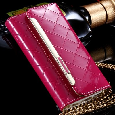 "Luxury Bling Crystal Diamond Pu Leather Case For Iphone 6 4.7"""" Fli 32256612559-3-Hot Pink"