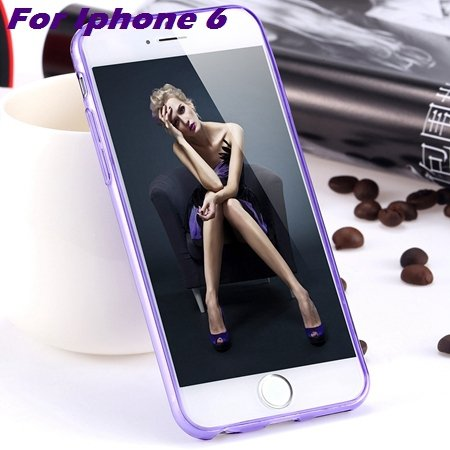 0.3Mm Ultra Thin Silicon Soft High Clear Case For Iphone 6 Crystal 32245374718-6-Purple For Iphone 6