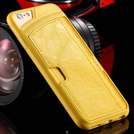 Vintage Luxury Soft Tpu + Pu Leather Case For Iphone 6 4.7Inch Sli 32262191617-4-Yellow