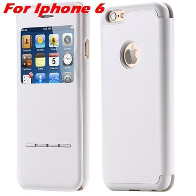 Luxury Gold Smart Answer Flip Leather Case For Iphone 6 /Iphone 6  32266094621-2-White For Iphone 6