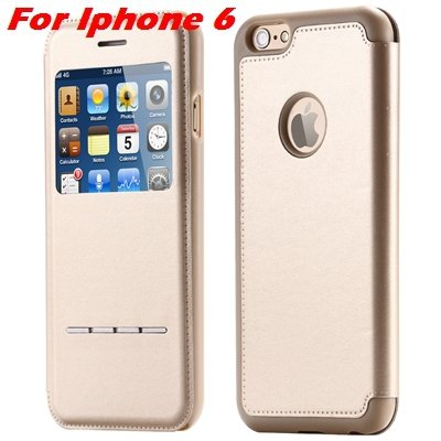 Luxury Gold Smart Answer Flip Leather Case For Iphone 6 /Iphone 6  32266094621-4-Gold For Iphone 6
