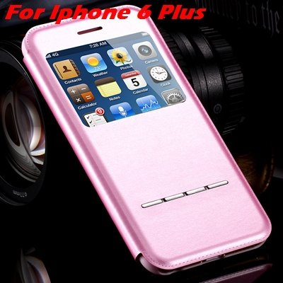 Luxury Gold Smart Answer Flip Leather Case For Iphone 6 /Iphone 6  32266094621-8-Pink For I6 Plus