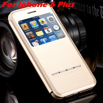 Luxury Gold Smart Answer Flip Leather Case For Iphone 6 /Iphone 6  32266094621-9-Gold For I6 Plus