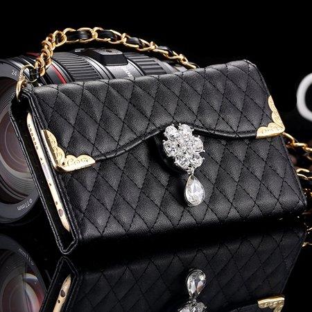 New Arrival Luxury Flip Pu Leather Case For Iphone 6 4.7 Lattice P 32223495624-1-Black