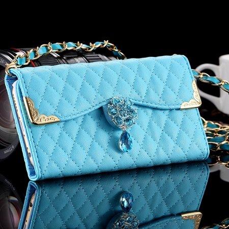 New Arrival Luxury Flip Pu Leather Case For Iphone 6 4.7 Lattice P 32223495624-5-Sky Blue