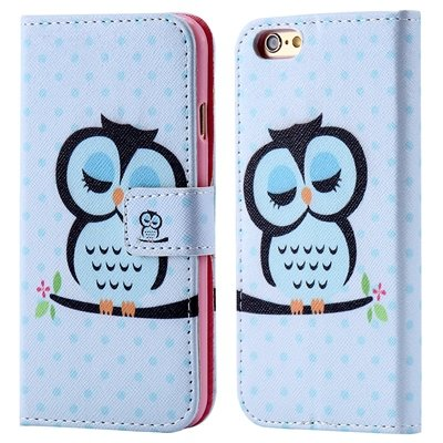 Retro Colorful Mat Pattern Pu Leather Case For Iphone 6 Flip Stand 32255140015-3-Sky Blue Owl
