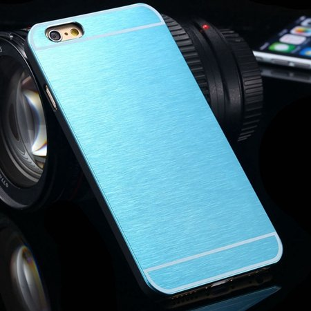 Luxury Brushed Metal Case For Iphone 6 4.7Inch Hard Phone Cases Sl 32226321434-2-Light Blue