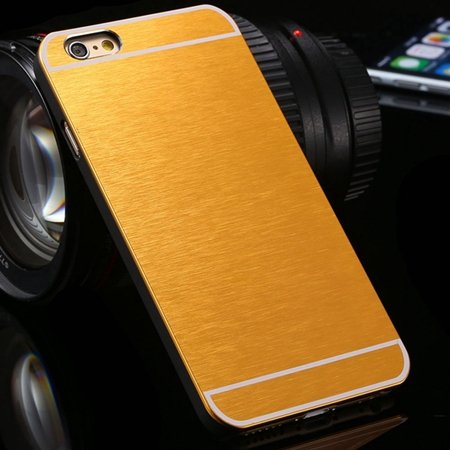 Luxury Brushed Metal Case For Iphone 6 4.7Inch Hard Phone Cases Sl 32226321434-6-Yellow