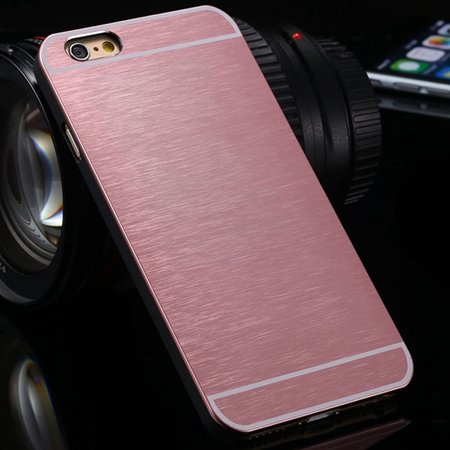 Luxury Brushed Metal Case For Iphone 6 4.7Inch Hard Phone Cases Sl 32226321434-9-Pink
