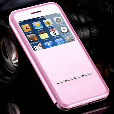 Window View Luxury Business Gold Leather Case For Iphone 6 4.7 Fli 32266459855-3-Pink