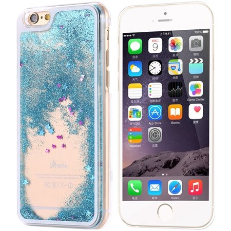 Cool Luxury Top Quality Oil Quicksand Pc Hard Case For Iphone 6 4. 32275053524-5-Sky Blue Star