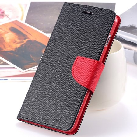 "Retro Fashionable Flip Pu Leather Case For Iphone 6 Case 4.7"""" Luxu 2028613606-10-Black and Red"