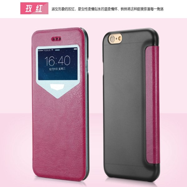 Lastest Extreme Luxury Ultra Thin Flip Leather Case For Iphone 6 S 32213398218-5-Hot Pink