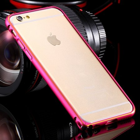 Ultra Thin Aluminum Luxury Metal Frame Bumper For Iphone 6 4.7Inch 32251693221-4-Gold and hot pink