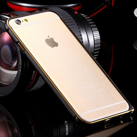 Ultra Thin Aluminum Luxury Metal Frame Bumper For Iphone 6 4.7Inch 32251693221-6-Gold and Black