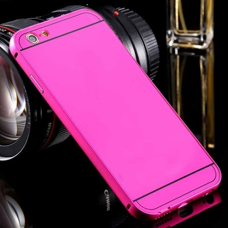 For Iphone6 Hard Case Luxury Gold Metal Aluminum +Acrylic Hybrid B 32290073190-4-Hot Pink
