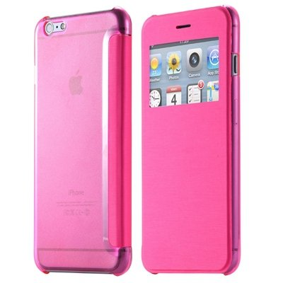 For Iphone 6 Leather Case Front Window View Pu Leather Case For Ip 32256582352-3-Hot Pink