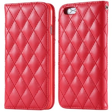 I6 Case Classic Luxury Sheep Grid Pu Leather Case For Iphone 6 4.7 32266551596-3-Red