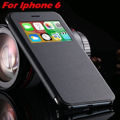 For Iphone 6 Leather Case Front Window View Pu Leather Case For Ip 32256469102-1-Black For IPHONE 6
