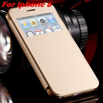 For Iphone 6 Leather Case Front Window View Pu Leather Case For Ip 32256469102-4-Gold For IPHONE 6