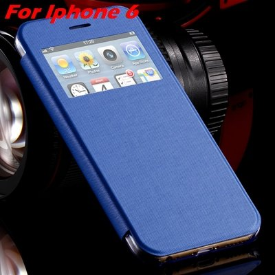 For Iphone 6 Leather Case Front Window View Pu Leather Case For Ip 32256469102-7-Sky Blue For I6