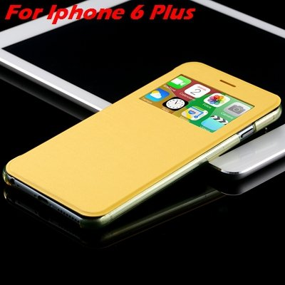 For Iphone 6 Leather Case Front Window View Pu Leather Case For Ip 32256469102-13-Yellow For I6 Plus