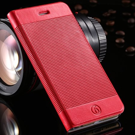Gold Luxury Elegent Grid Pattern Flip Leather Case For Iphone 6 4. 32213365686-3-Red