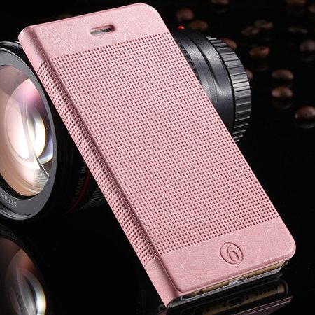 Gold Luxury Elegent Grid Pattern Flip Leather Case For Iphone 6 4. 32213365686-6-Pink