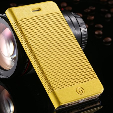 Gold Luxury Elegent Grid Pattern Flip Leather Case For Iphone 6 4. 32213365686-10-Yellow