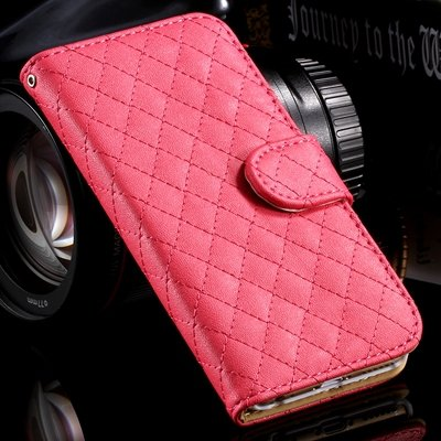 For Iphone 6 Case Vintage Luxury Sheapskin Grid Flip Leather Case  32258496057-4-Hot Pink