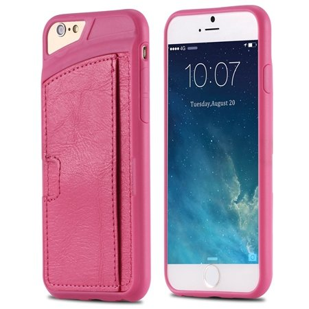 For Iphone 6 Leather Case Luxury Retro Hard Back Pu Leather Case F 32261725786-5-Hot Pink