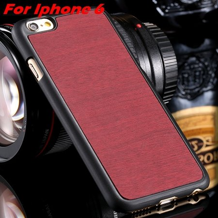 """Luxury Retro Wood Grain Hard Case For Iphone 6 4.7"""""""" Deluxe Fashion 32253933772-4-Red For I6"""
