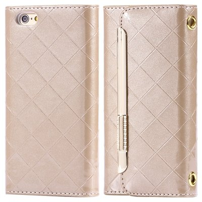 """Hot Classic Plaid Pattern Pu Leather Case For Iphone 6 4.7"""""""" Case W 32256588971-6-Gold"""