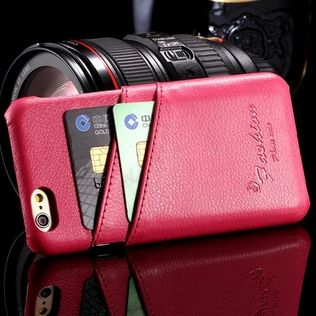 2015 Retro Lychee Luxury Geniune Leather Case For Iphone 6 4.7Inch 2045850384-3-Hot Pink