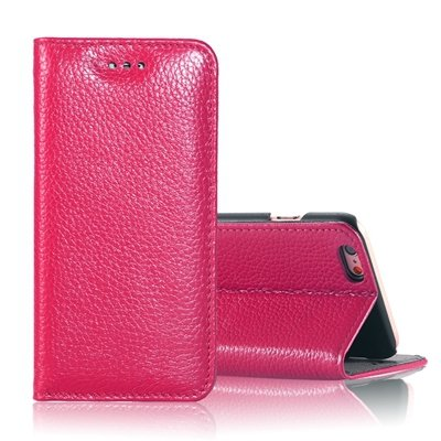 "Vintage Elegent Lychee Pattern Pu Leather Case For Iphone 6 4.7"""" F 32259828402-5-Hot Pink"