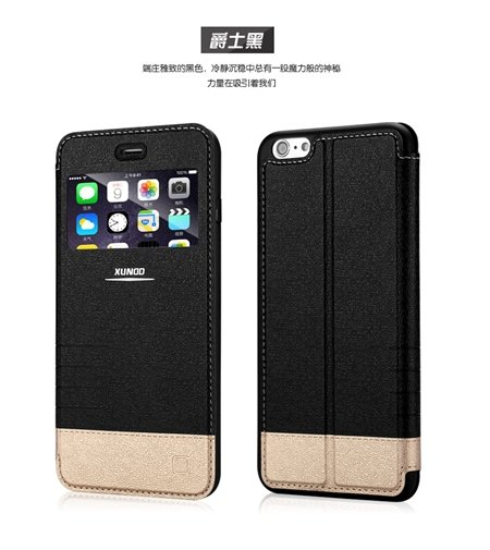 2015 Gold Luxury Flip Pu Leather Case For Iphone 6 4.7Inch Open Wi 2055091619-1-Black