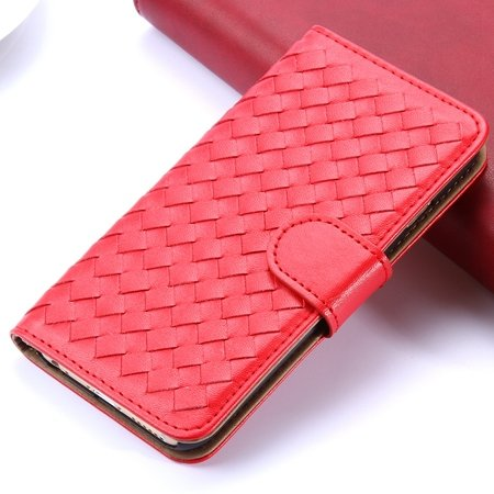 2015 Newest Cute Girl'S Pink Weave Flip Pu Leather Case For Iphone 32271815169-2-Red