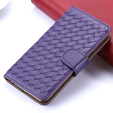 2015 Newest Cute Girl'S Pink Weave Flip Pu Leather Case For Iphone 32271815169-5-Purple