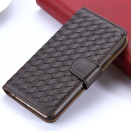 2015 Newest Cute Girl'S Pink Weave Flip Pu Leather Case For Iphone 32271815169-6-Brown