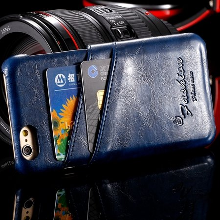 Retro Luxury Top Quality Pu Leather Case For Iphone 6 4.7Inch Card 2045461081-5-Blue