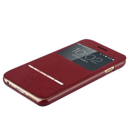 For Iphone 6 Smart Case Gold Luxury Open Window View Pu Leather Ca 32262312822-2-Red
