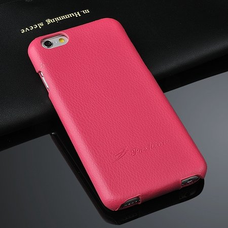 For Iphone 6 Case Luxury Lychee Pattern Geniune Flip Leather Case  2045879452-4-Hot Pink