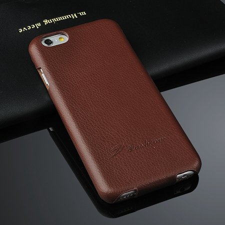 For Iphone 6 Case Luxury Lychee Pattern Geniune Flip Leather Case  2045879452-5-Brown