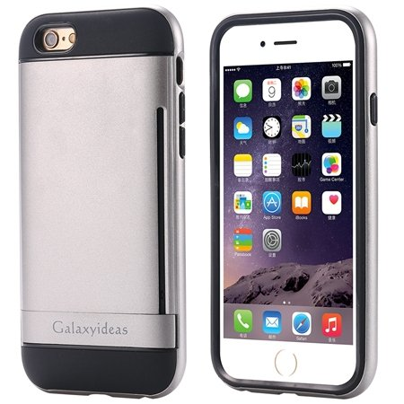 For Iphone6 Kickstand Card Slot Pc + Tpu Hybird Armor Case For Iph 32305097639-1-Gray