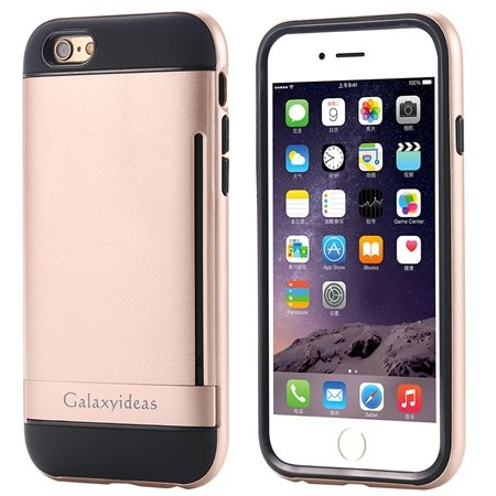 For Iphone6 Kickstand Card Slot Pc + Tpu Hybird Armor Case For Iph 32305097639-5-Gold