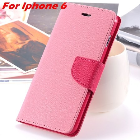 New Retro Flip Leather Case For Iphone 6 Plus & Iphone 6 Flip Case 2051510402-3-Pink For Iphone 6