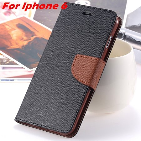 New Retro Flip Leather Case For Iphone 6 Plus & Iphone 6 Flip Case 2051510402-7-Black Brown For Iph6