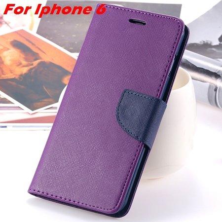 New Retro Flip Leather Case For Iphone 6 Plus & Iphone 6 Flip Case 2051510402-9-Purple For Iphone 6