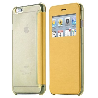 Original Smart Clear Open Window Pu Leather Case For Iphone 6 Plus 32256421588-5-Yellow